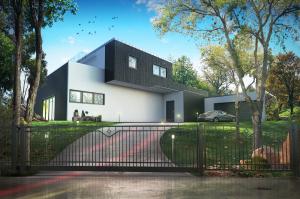 dom i ogrodzenie Brameo fotografia